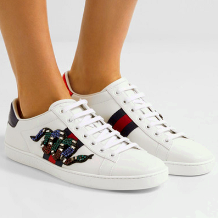 Gucci Snake Embroidered Shoes