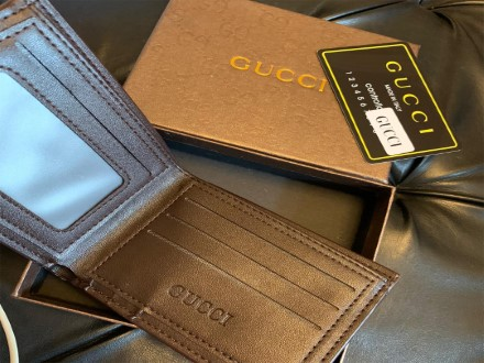 Gucci Striped Brown Leather Wallet For Men