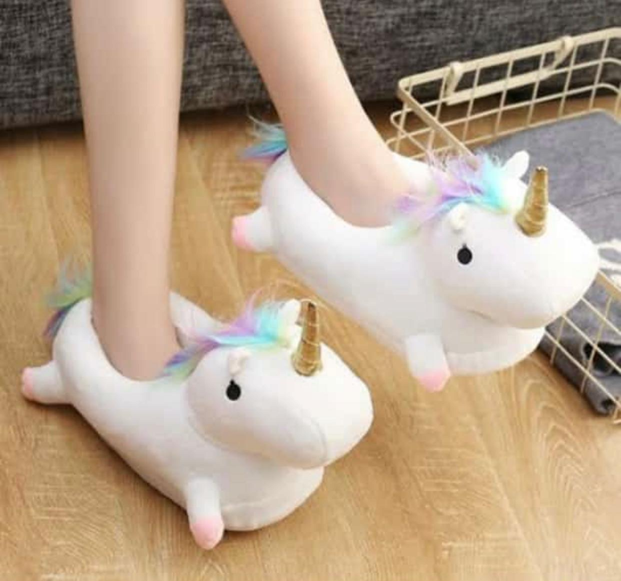 Unicorn Plush Winter Slides